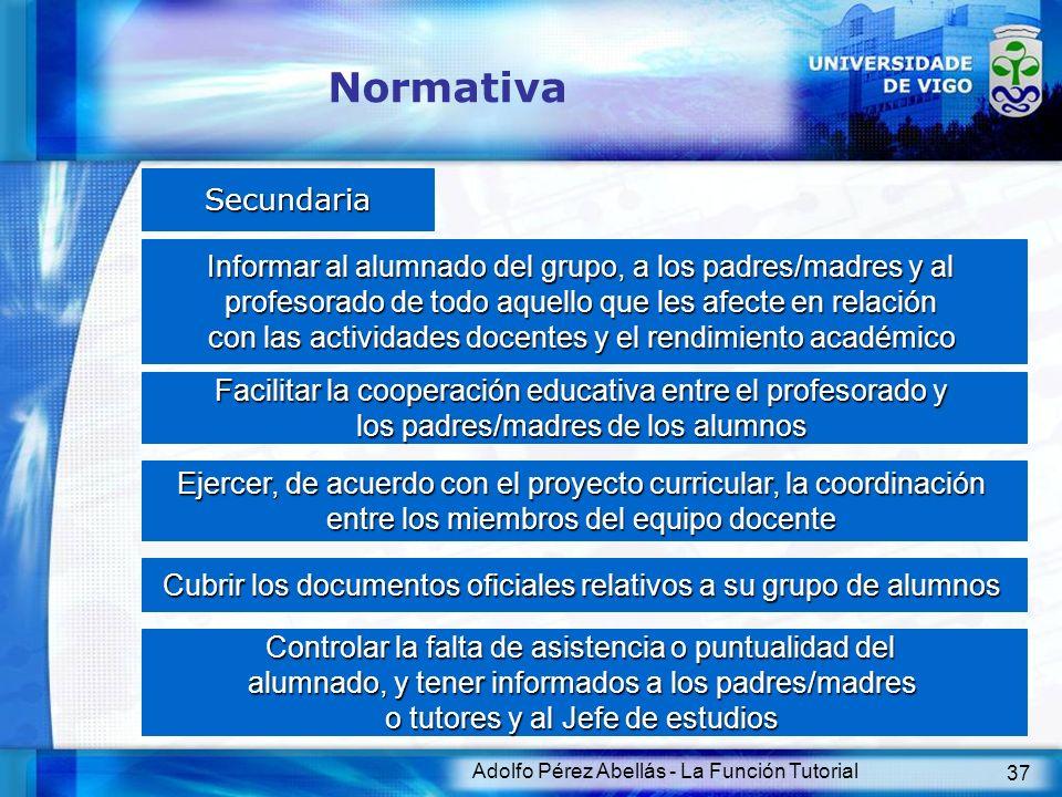 Normativa Secundaria. Informar al alumnado del grupo, a los padres/madres y al. profesorado de todo aquello que les afecte en relación.