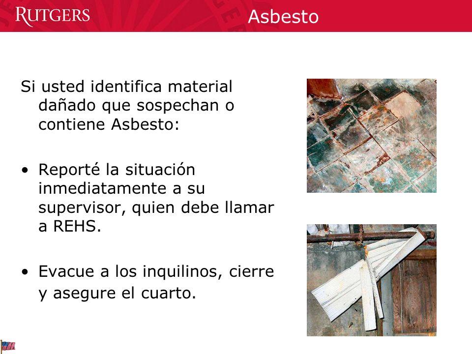 Asbesto Si usted identifica material dañado que sospechan o contiene Asbesto: