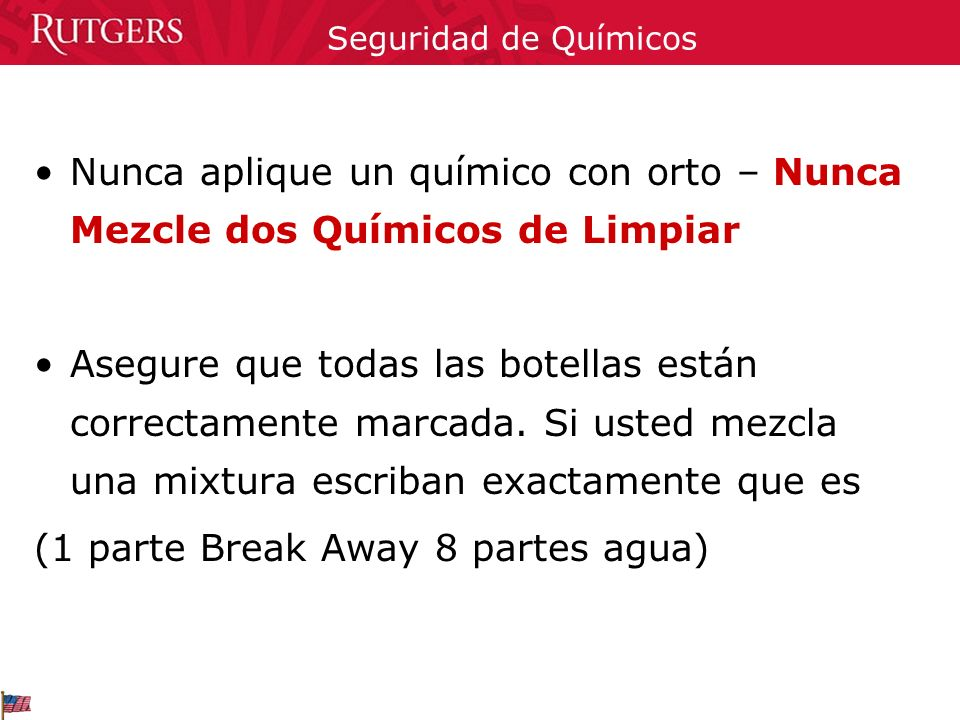 (1 parte Break Away 8 partes agua)