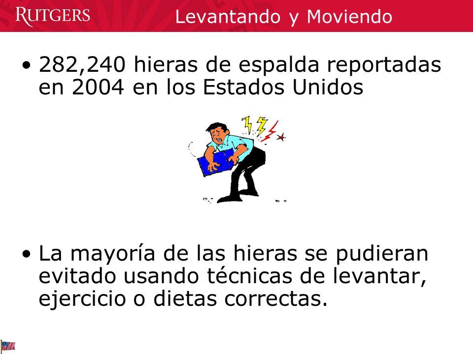 282,240 hieras de espalda reportadas en 2004 en los Estados Unidos