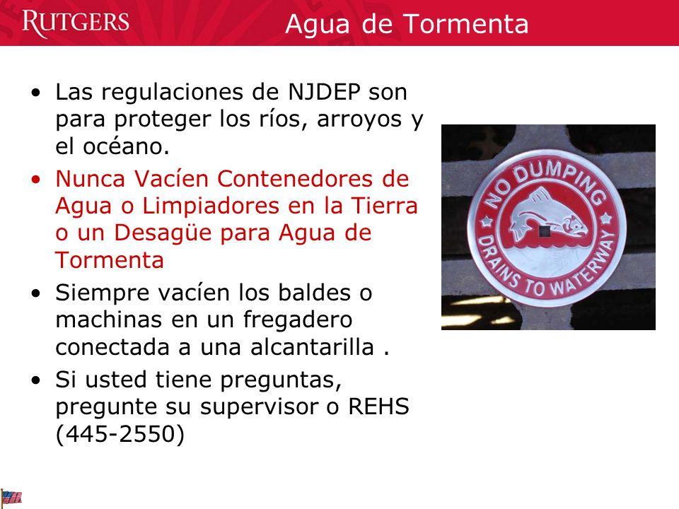 Agua de Tormenta Las regulaciones de NJDEP son para proteger los ríos, arroyos y el océano.