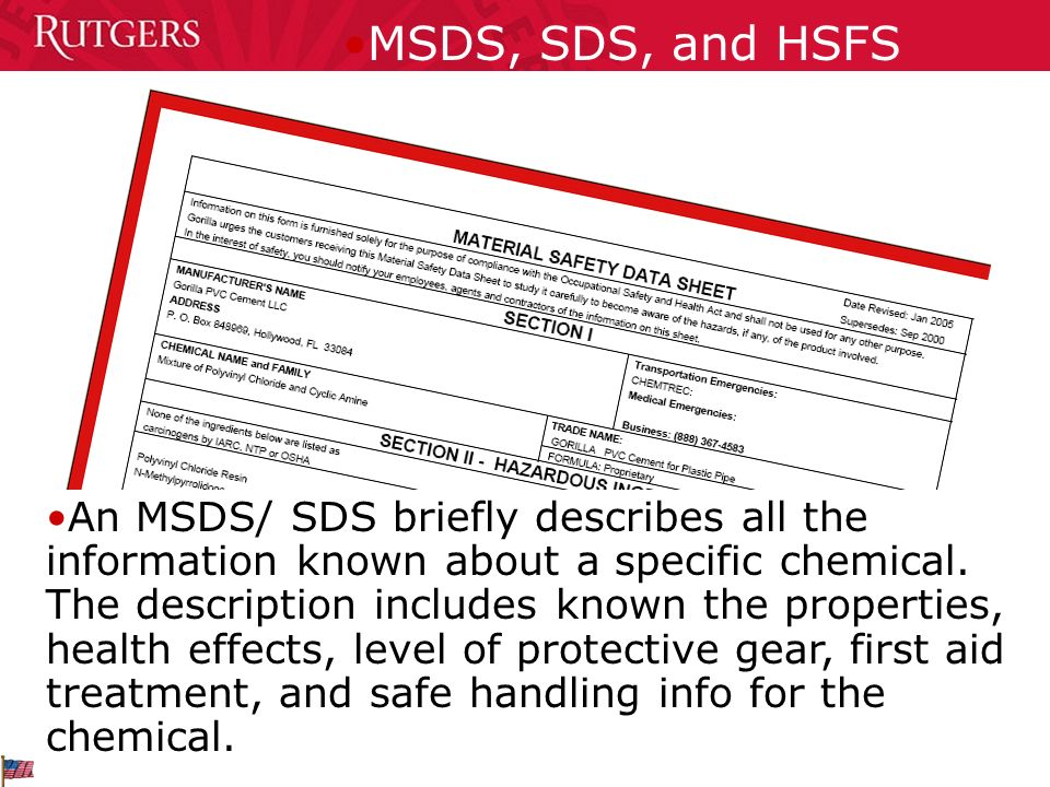 MSDS, SDS, and HSFS