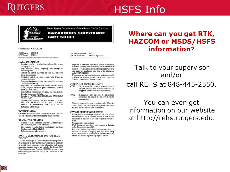 Where can you get RTK, HAZCOM or MSDS/HSFS information