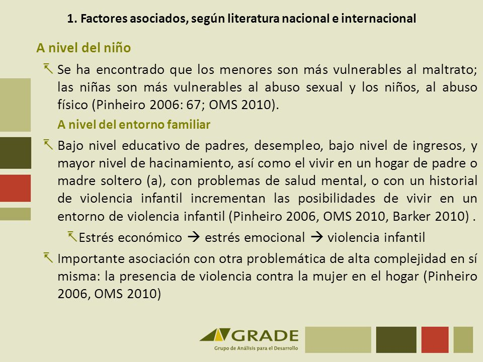1. Factores asociados, según literatura nacional e internacional