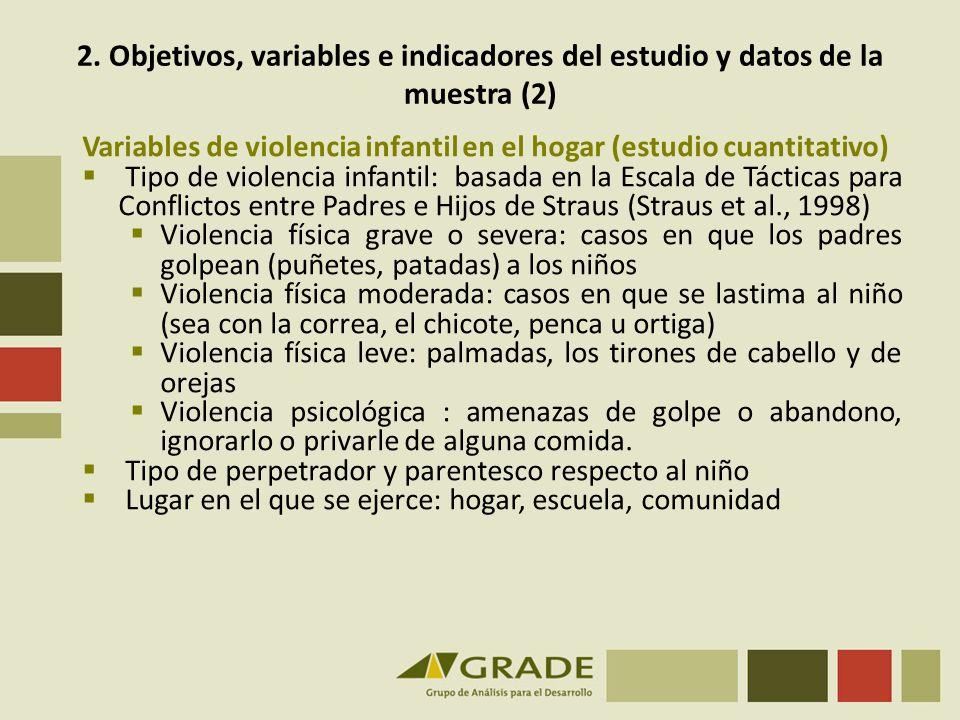 2. Objetivos, variables e indicadores del estudio y datos de la muestra (2)