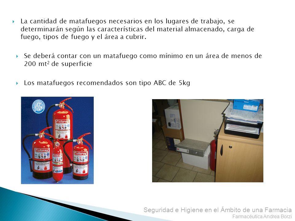 La cantidad de matafuegos necesarios en los lugares de trabajo, se determinarán según las características del material almacenado, carga de fuego, tipos de fuego y el área a cubrir.