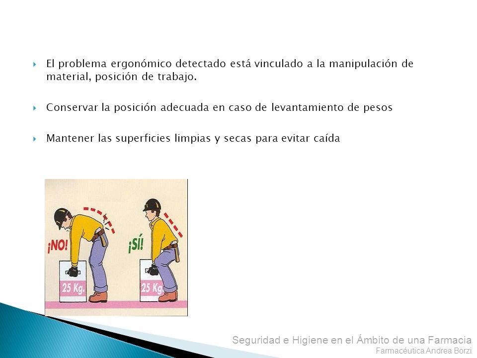 El problema ergonómico detectado está vinculado a la manipulación de material, posición de trabajo.