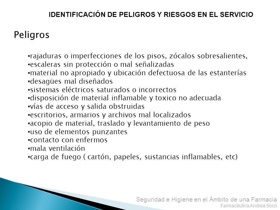 Peligros IDENTIFICACIÓN DE PELIGROS Y RIESGOS EN EL SERVICIO