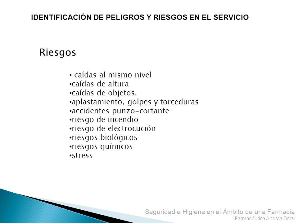 Riesgos IDENTIFICACIÓN DE PELIGROS Y RIESGOS EN EL SERVICIO