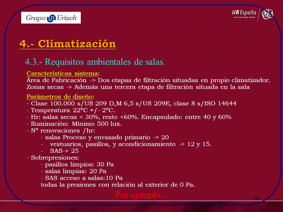 4.- Climatización 4.3.- Requisitos ambientales de salas.
