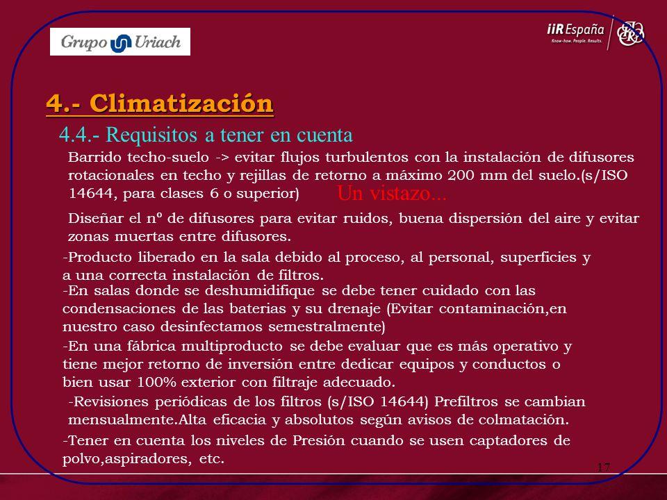 4.- Climatización 4.4.- Requisitos a tener en cuenta Un vistazo...