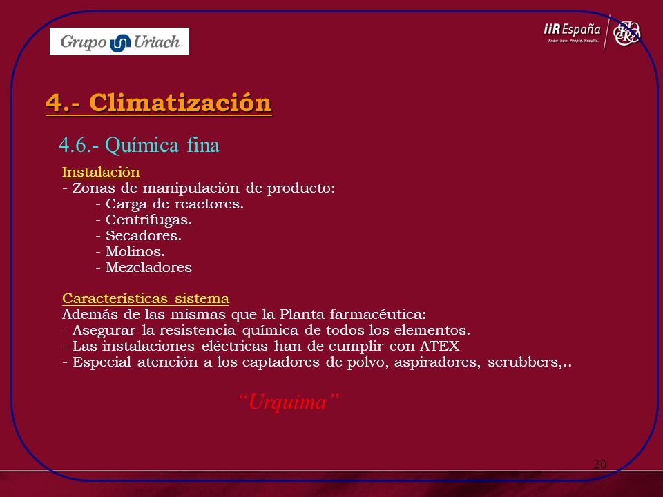 4.- Climatización 4.6.- Química fina Urquima Instalación
