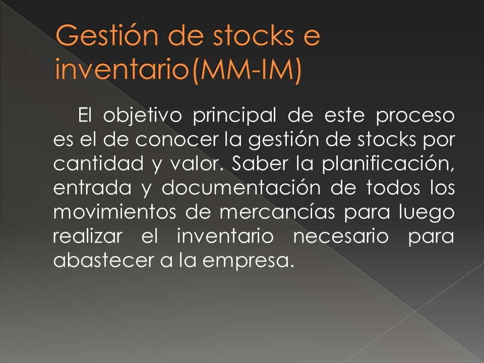 Gestión de stocks e inventario(MM-IM)