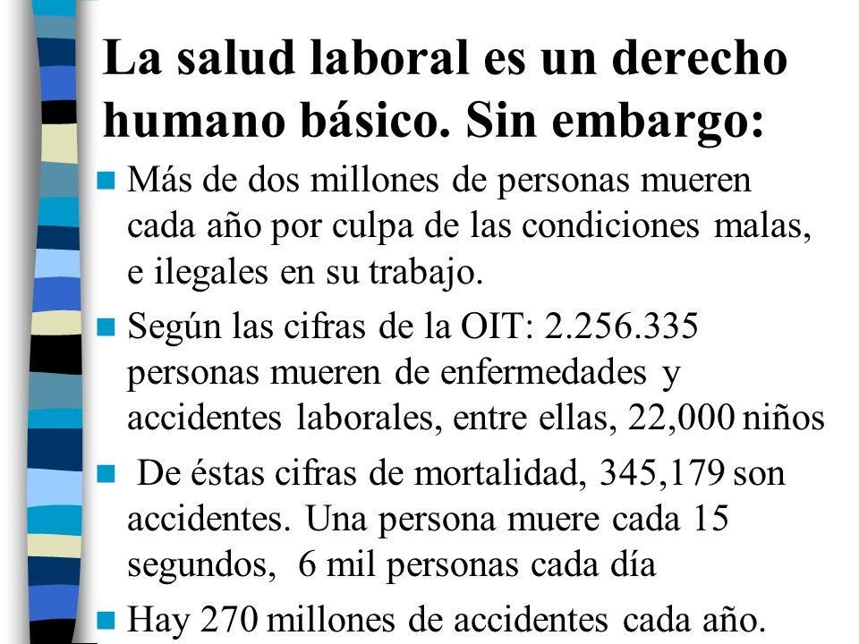 La salud laboral es un derecho humano básico. Sin embargo: