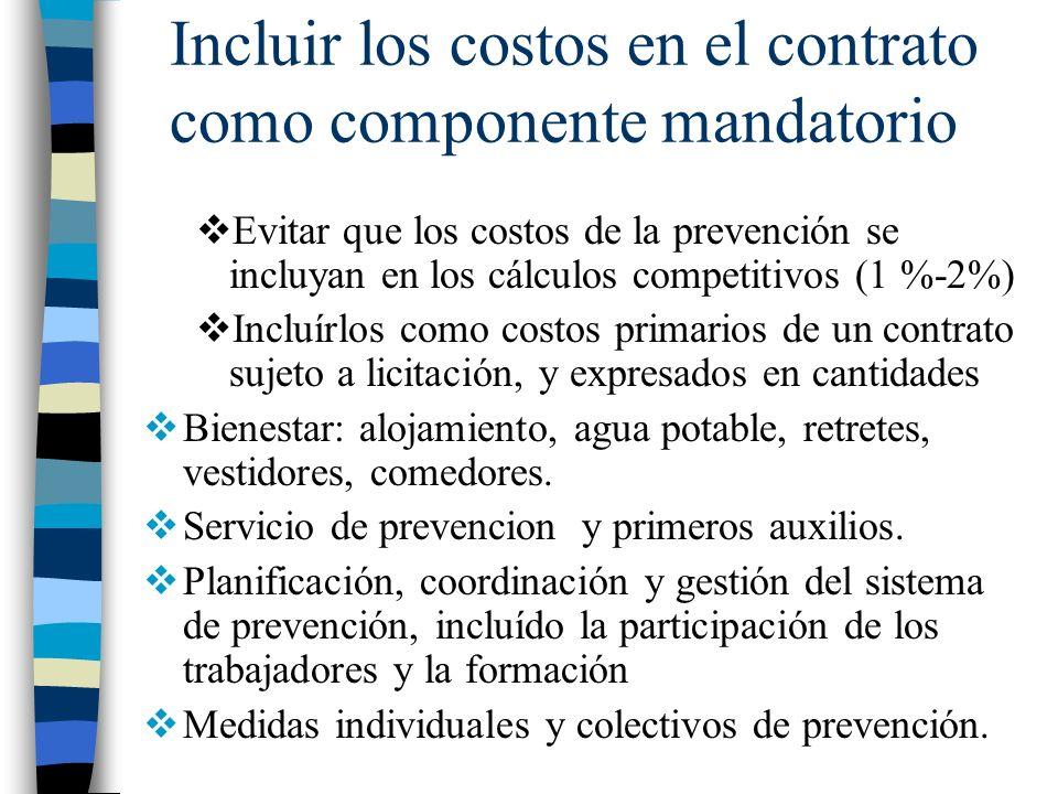 Incluir los costos en el contrato como componente mandatorio