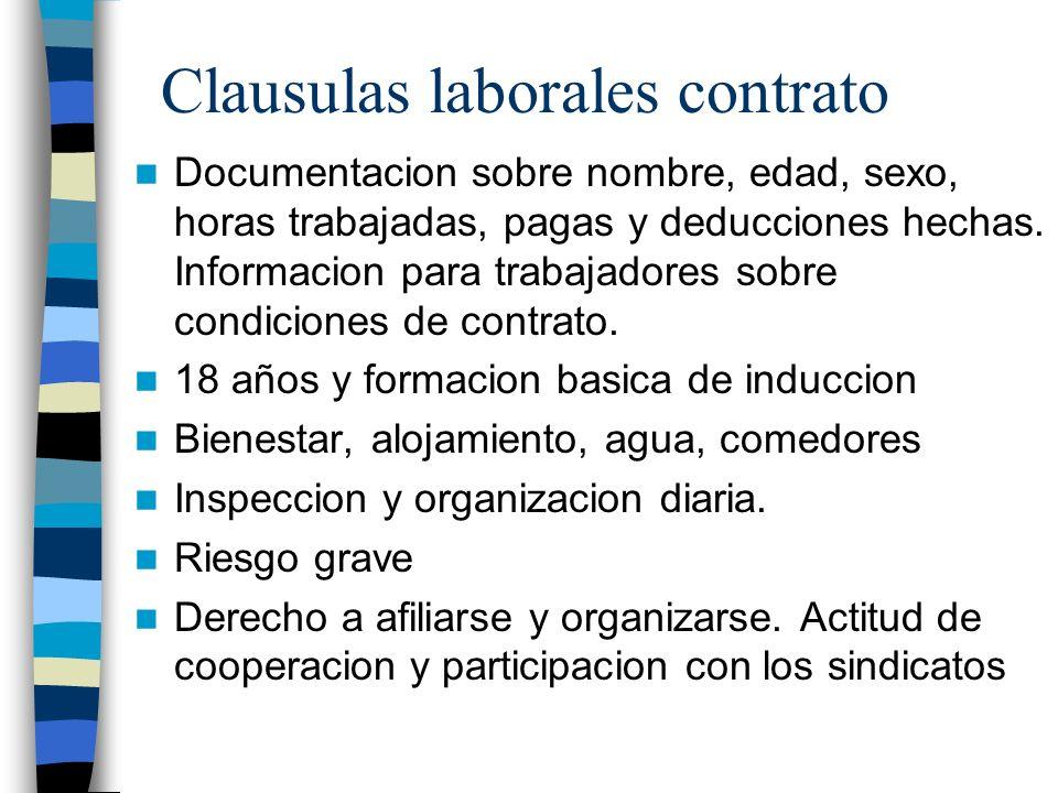 Clausulas laborales contrato