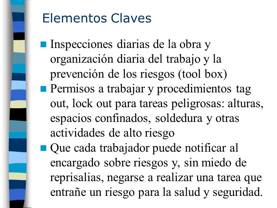 Elementos Claves Inspecciones diarias de la obra y organización diaria del trabajo y la prevención de los riesgos (tool box)