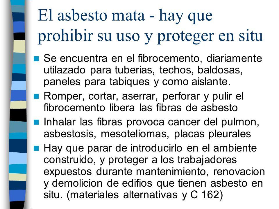 El asbesto mata - hay que prohibir su uso y proteger en situ