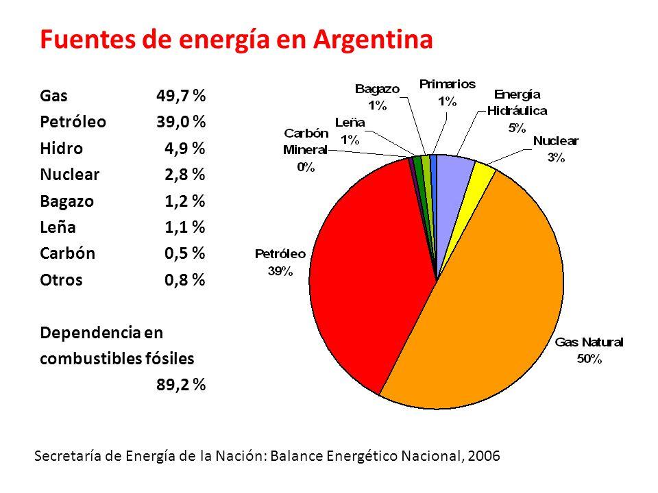 Fuentes de energía en Argentina
