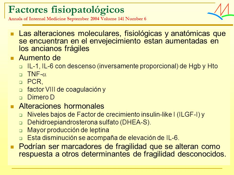 Factores fisiopatológicos Annals of Internal Medicine September 2004 Volume 141 Number 6