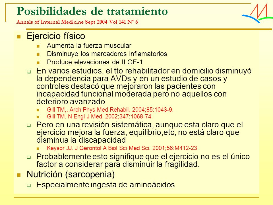 Posibilidades de tratamiento Annals of Internal Medicine Sept 2004 Vol 141 Nº 6