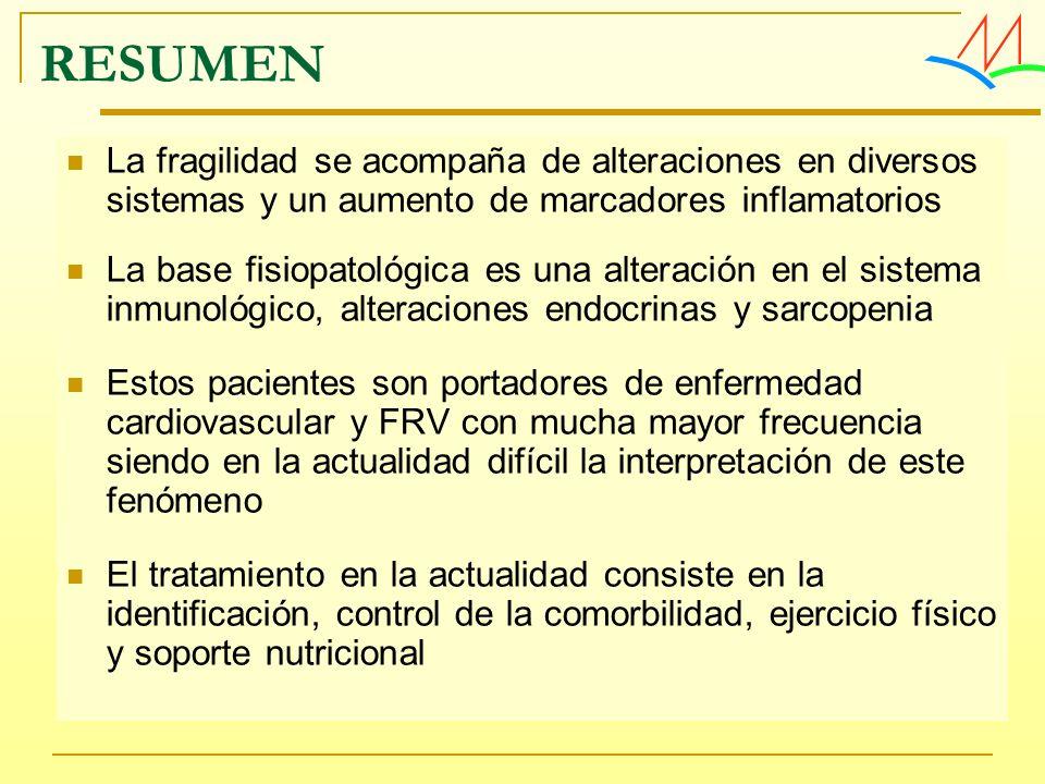 RESUMENLa fragilidad se acompaña de alteraciones en diversos sistemas y un aumento de marcadores inflamatorios.