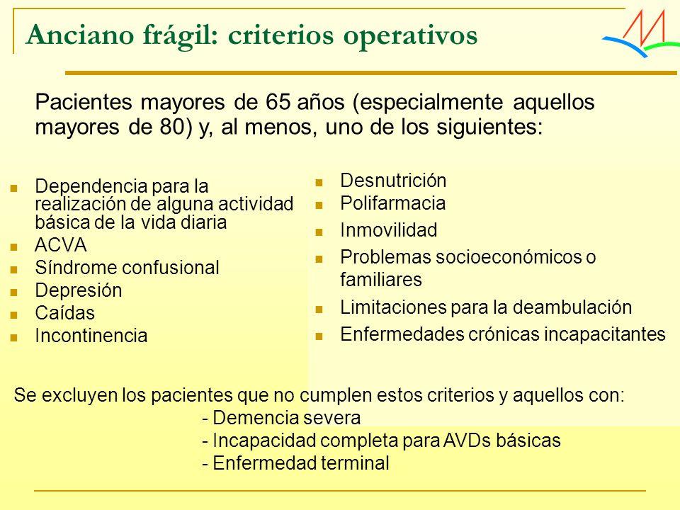 Anciano frágil: criterios operativos