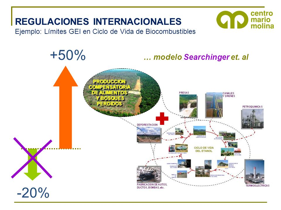  +50% -20% REGULACIONES INTERNACIONALES … modelo Searchinger et. al