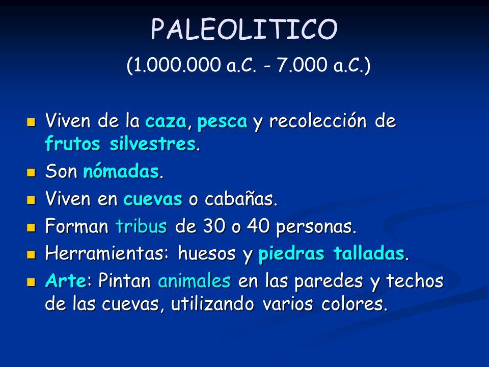 PALEOLITICO (1.000.000 a.C. - 7.000 a.C.) Viven de la caza, pesca y recolección de frutos silvestres.