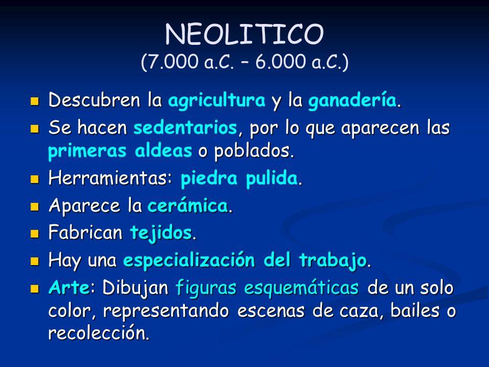 NEOLITICO (7.000 a.C. – 6.000 a.C.) Descubren la agricultura y la ganadería.
