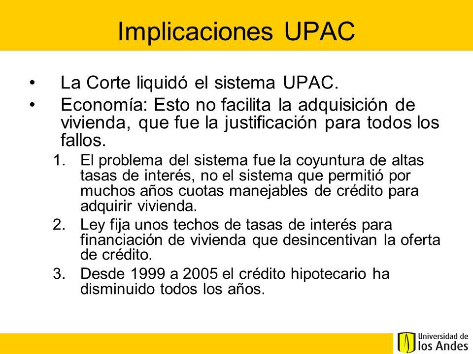 Implicaciones UPAC La Corte liquidó el sistema UPAC.