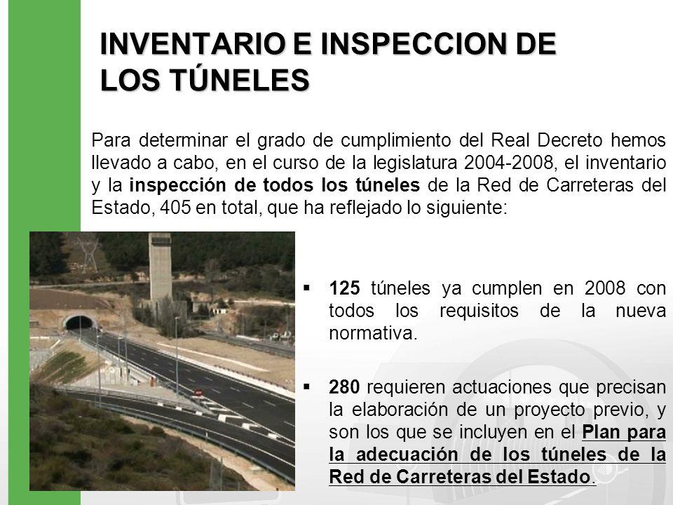INVENTARIO E INSPECCION DE LOS TÚNELES