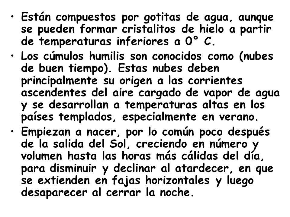 Están compuestos por gotitas de agua, aunque se pueden formar cristalitos de hielo a partir de temperaturas inferiores a 0° C.