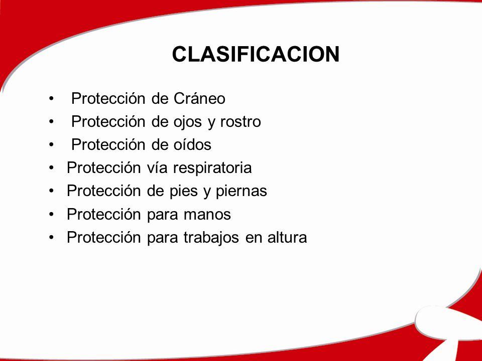 CLASIFICACION Protección de Cráneo Protección de ojos y rostro