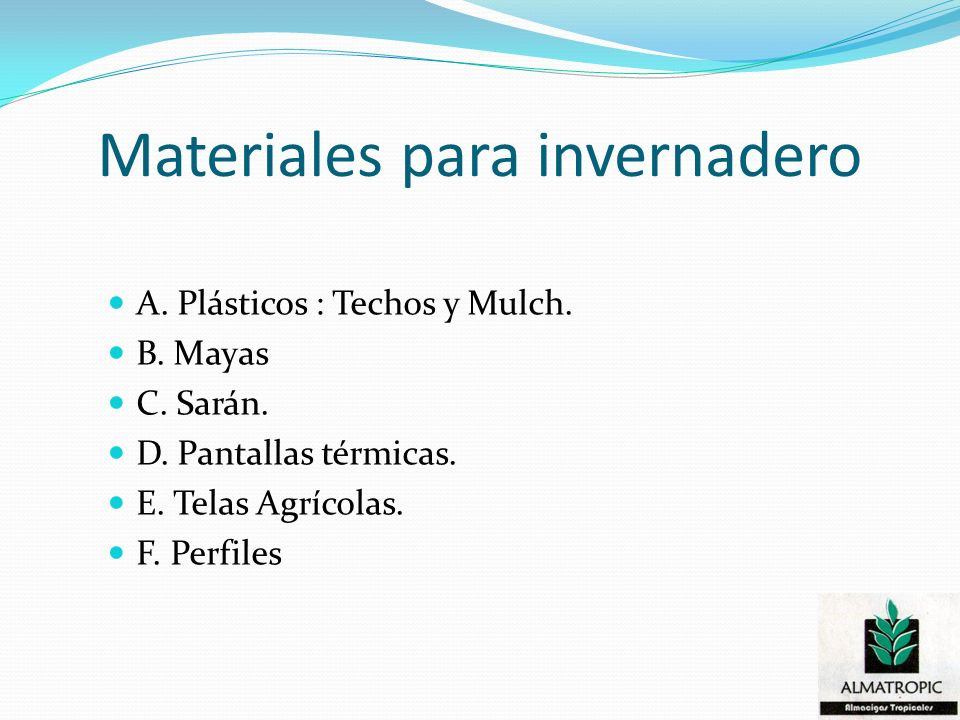 Materiales para invernadero