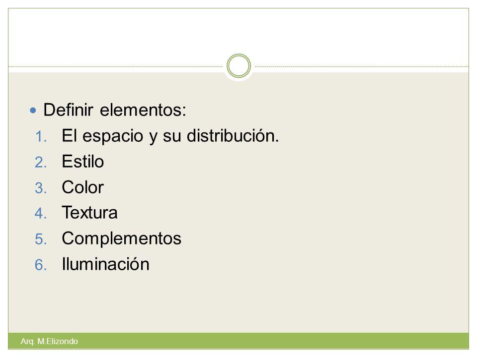 El espacio y su distribución. Estilo Color Textura Complementos