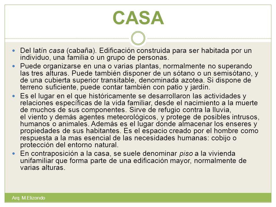 CASA Del latín casa (cabaña). Edificación construida para ser habitada por un individuo, una familia o un grupo de personas.