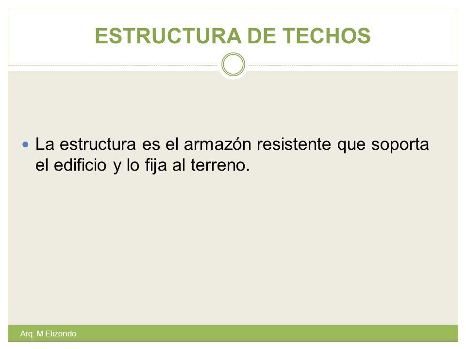 ESTRUCTURA DE TECHOS La estructura es el armazón resistente que soporta el edificio y lo fija al terreno.