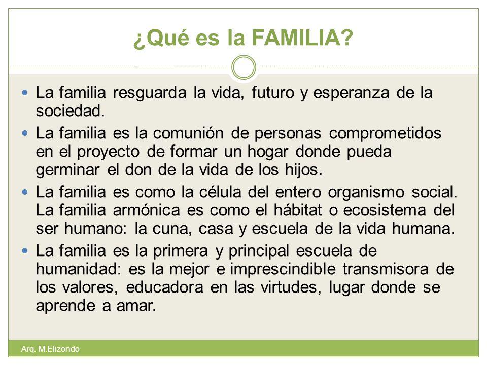¿Qué es la FAMILIA La familia resguarda la vida, futuro y esperanza de la sociedad.