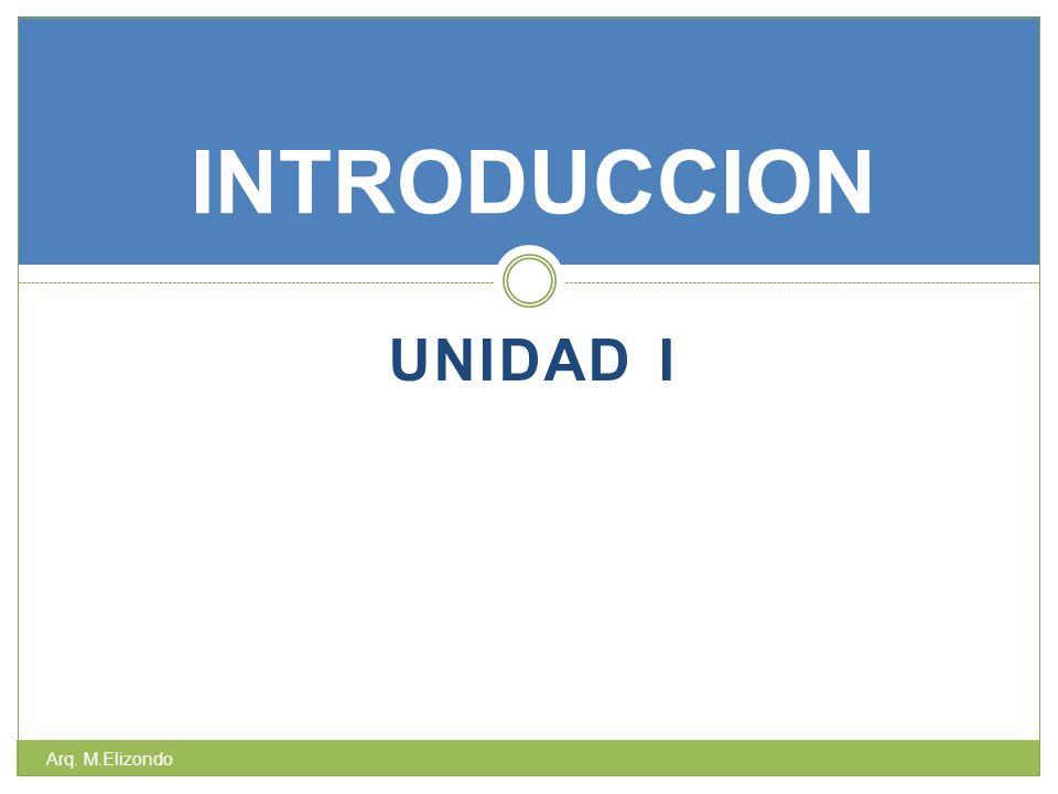 INTRODUCCION UNIDAD I Arq. M.Elizondo