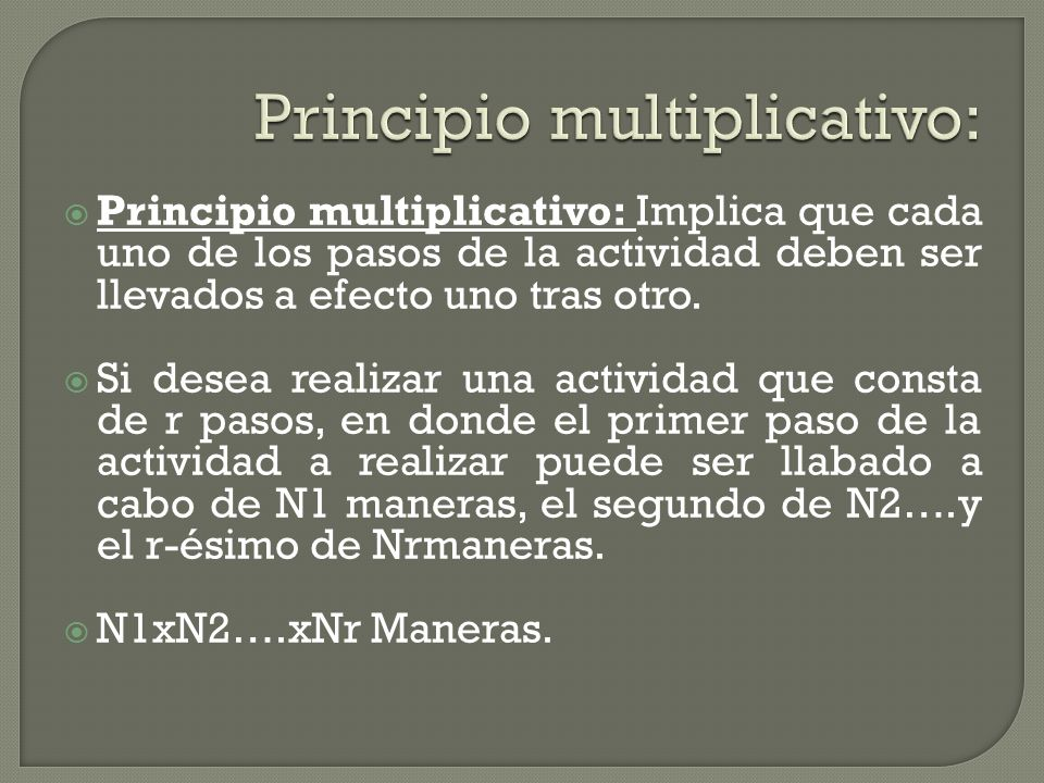 Principio multiplicativo: