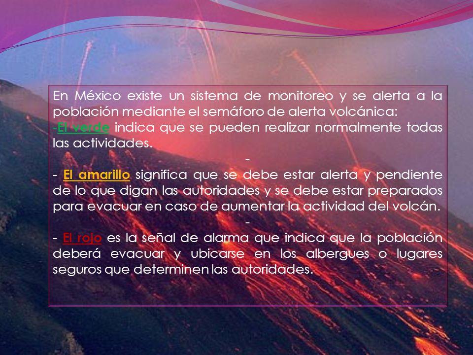 En México existe un sistema de monitoreo y se alerta a la población mediante el semáforo de alerta volcánica: