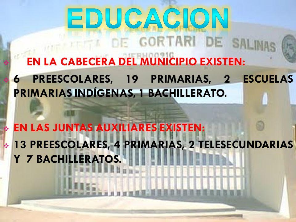 EDUCACION EN LA CABECERA DEL MUNICIPIO EXISTEN: