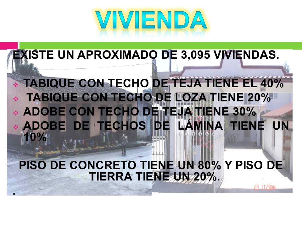 PISO DE CONCRETO TIENE UN 80% Y PISO DE TIERRA TIENE UN 20%.