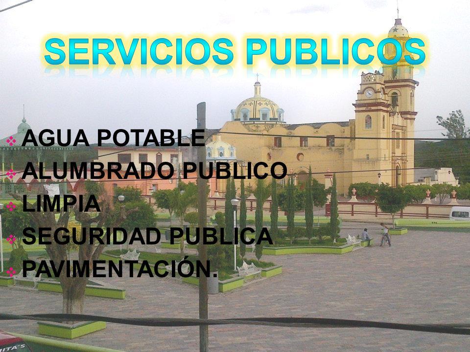 SERVICIOS PUBLICOS AGUA POTABLE ALUMBRADO PUBLICO LIMPIA