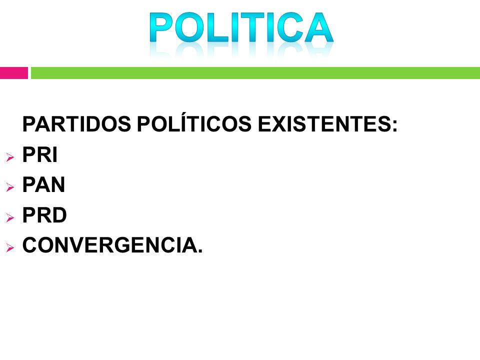 POLITICA PARTIDOS POLÍTICOS EXISTENTES: PRI PAN PRD CONVERGENCIA.