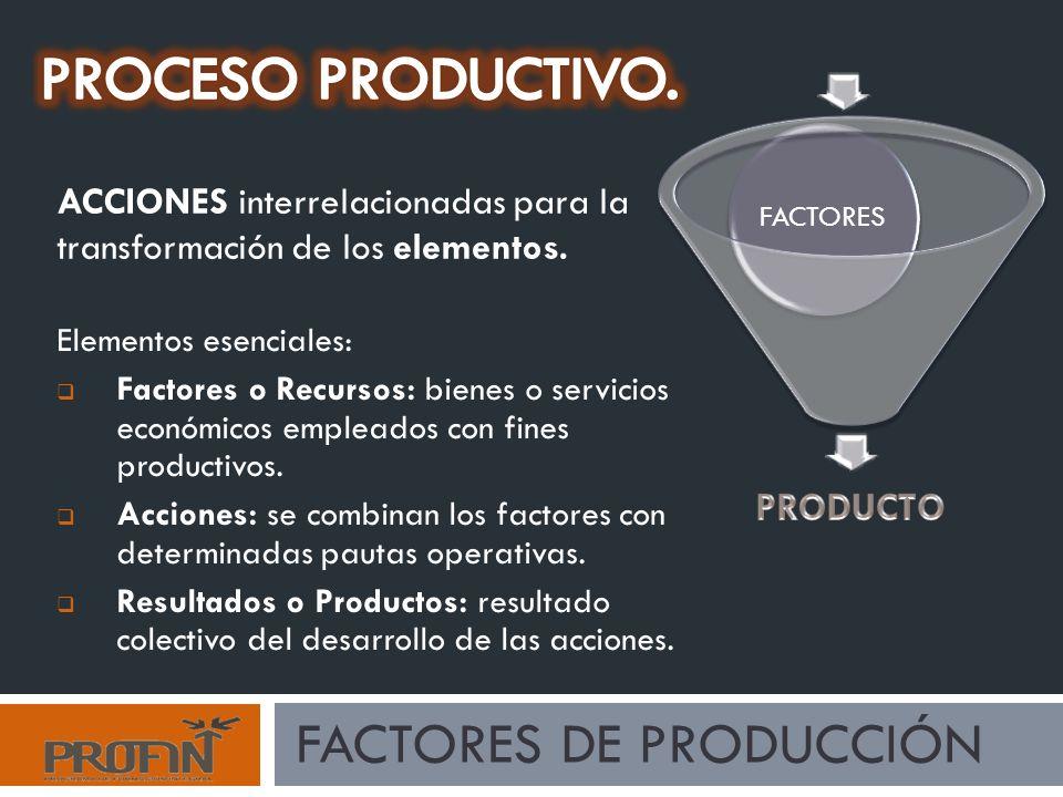 PROCESO PRODUCTIVO. Factores de producción