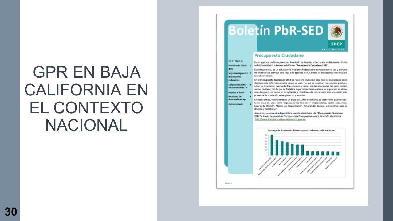 GpR en Baja California en el contexto nacional