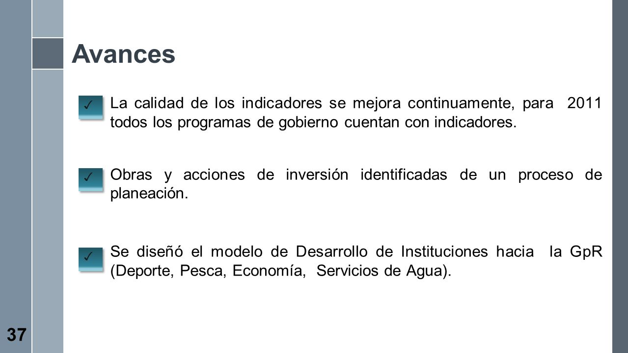 Avances La calidad de los indicadores se mejora continuamente, para 2011 todos los programas de gobierno cuentan con indicadores.