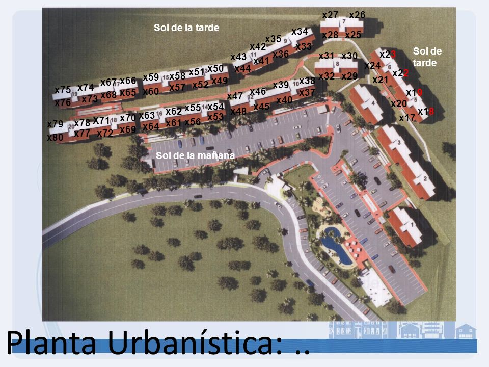 Planta Urbanística: .. x27 x26 Sol de la tarde x34 x28 x25 x35 x42 x33